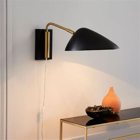 curvilinear mid century sconce short black west elm