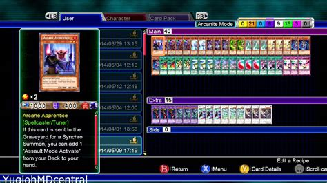 Arcanite Magician Deck Recipe yu gi oh md millennium duels arcanite magician assault
