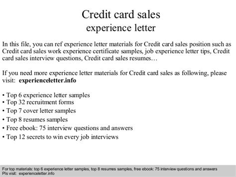 Credit Card Sales Experience Resume by Credit Card Sales Experience Letter