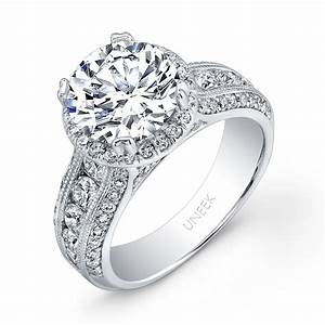 uneek round diamond wide band halo engagement ring with With wide band wedding rings for her