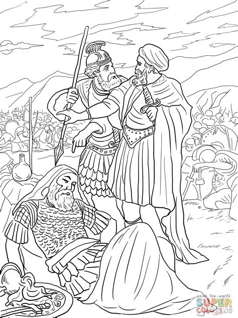 4 David Spares King Saul Coloring Page 12001600
