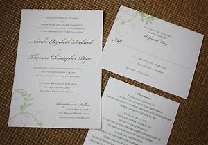 Simple green vine wedding invitations programs and for Simple wedding invitations with pictures