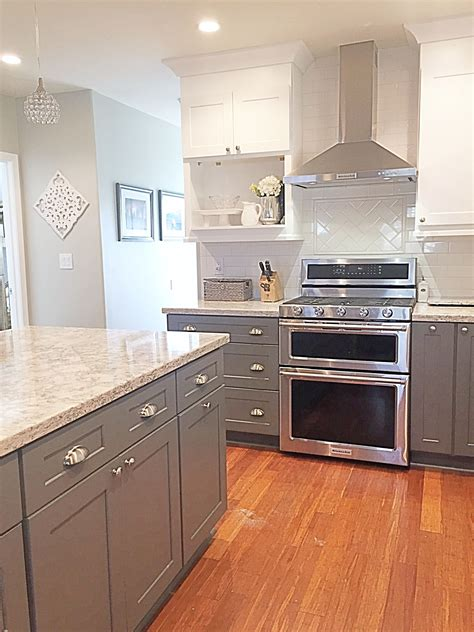 gray kitchen white cabinets cambria quartz berwyn two tone kitchen gray and white