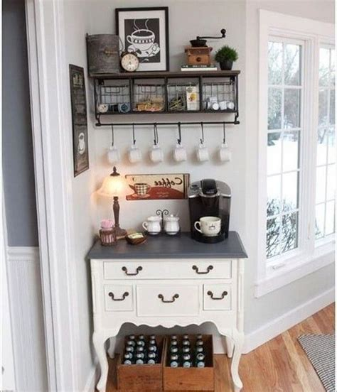 What do you think of all these cool decorative coffee bar pieces? 11 elegant first apartment small kitchen bar design ideas   Farmhouse kitchen design, Farmhouse ...