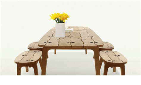 Wood Inlaid Dining Table Set for Indoors and Outdoors by