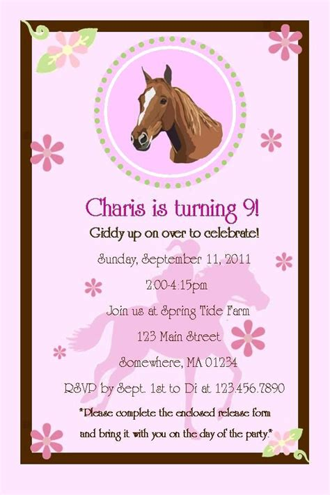 birthday invitations party horse wording years invitation theme printable themed templates cards parties pony boy invite olds themes invites sleepover