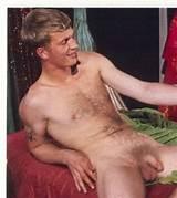 Blond man, hairy chest, uncut