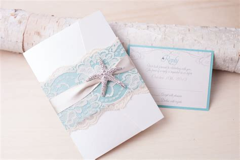 Beach Wedding Invitation Starfish Wedding Invitation