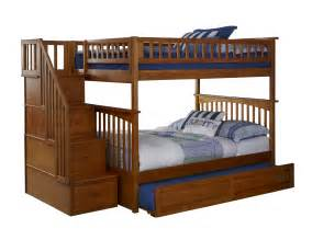 columbia staircase bunk bed raised panel trundle caramel latte bunk beds