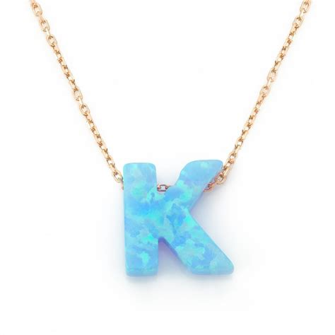 letter k necklace opal k initial necklaces lucky fenwick of