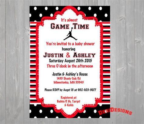 michael jordan baby shower invitation red  blue