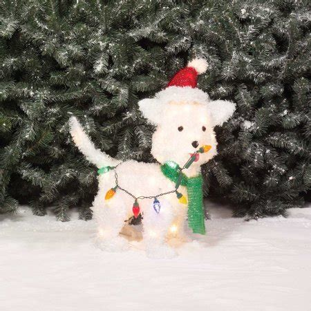 holiday time christmas decor  fluffy dog light
