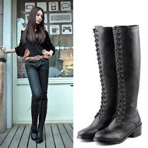 womens boots fashion 2014 fashion style lace up flat knee high boots for vintage motorcycle