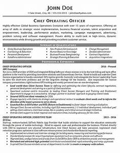 chief operating officer global business operations With coo resume