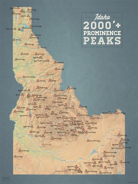idaho map peaks poster 2000 18x24 prominence prominent natural earth maps
