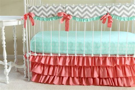 coral and mint baby bedding bumperless baby bedding mint coral chevron crib bedding