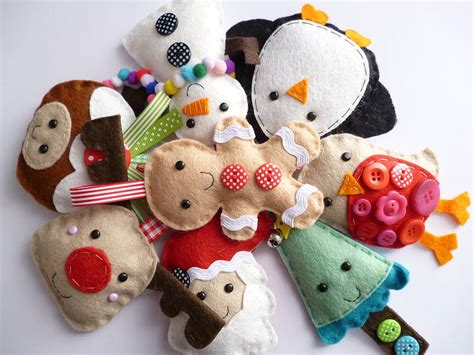 small handmade felt christmas decoration by paper and