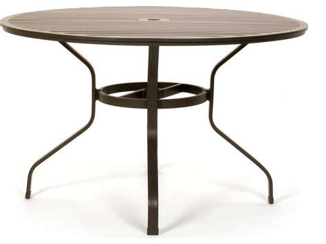 table with umbrella hole caluco san michele aluminum 48 round metal dining table