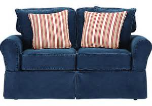 cindy crawford home beachside blue denim loveseat