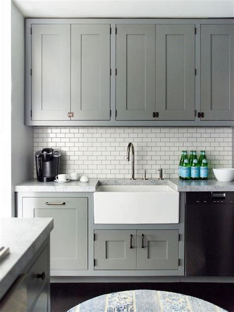 kitchen grey cabinets apron sink white subway tile back