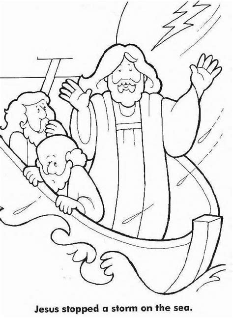 jesus calms  storm coloring page coloring home