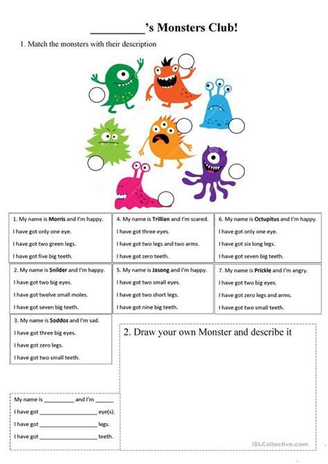 descriptive language   monster worksheets