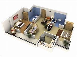 10, Awesome, Two, Bedroom, Apartment, 3d, Floor, Plans