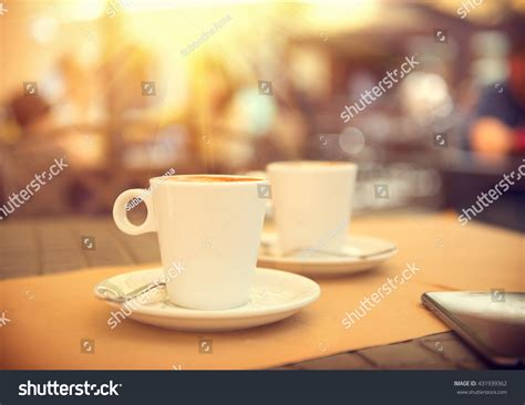 Morning Coffee On Terrace Cafe Cup Stock Photo 431939362 Lighter Coffee Roasts Melitta Cone #6 Filter Machine Dark Walnut Table Artisan Pour-over Kit A75 Maker Carafe Hazelnut Creme Ingredients