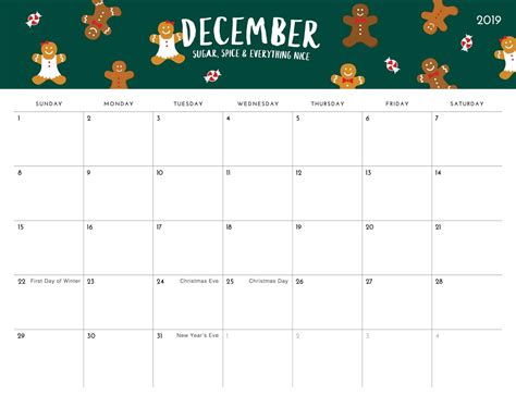 editable calendar  december  template net market