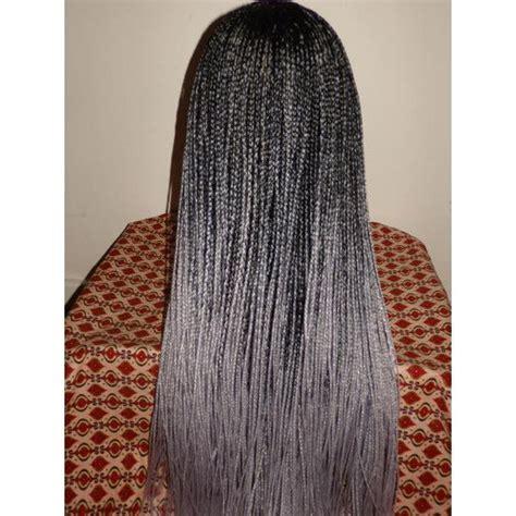 handmade ombre box braid  lace wig black silver grey