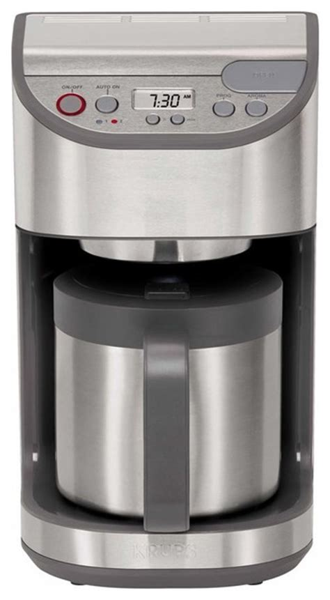 Any size cup or mug fits travel mug frothing wand glass carafe hot water dispenser indicator light indicator lights large pouring spout lcd display locking lid milk frother. Krups KM611D50 10 Cup Precision Coffee Maker w/ Thermal Carafe, Stainless Steel - Modern ...