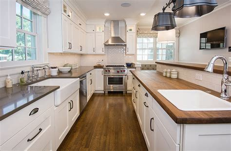 updated farmhouse kitchen integrates butlers pantry
