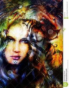 Peinture Visage Femme : t te puissante de peinture de lion et visage mystique de femme illustration stock image 64401752 ~ Melissatoandfro.com Idées de Décoration