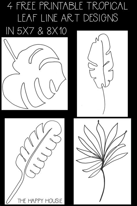 Roll a second piece of green construction paper into as tight a tube as possible and tape it so it will stay. Tropical & Palm Leaf Line Art Free Printable Series | The Happy Housie