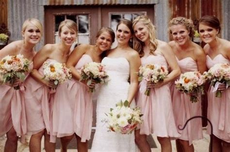 Short Bridesmaid Dresses Light Pink Green Yellow Brown