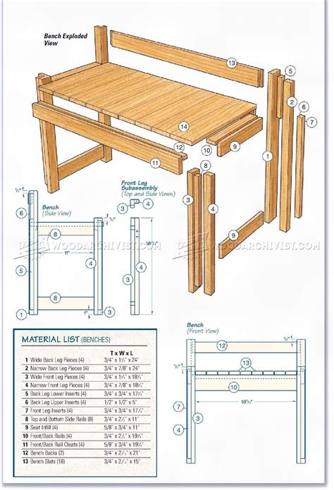 kitchen table  bench plans woodarchivist