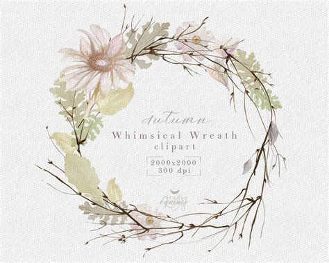 watercolor wreath clipart floral wreath clipart botanical