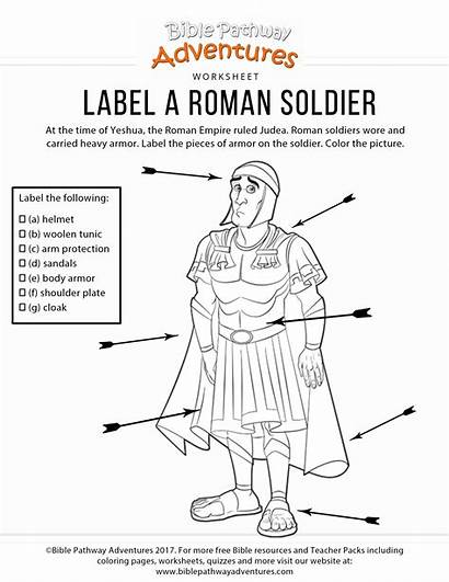 Roman Soldier Worksheet Label Bible Coloring Activities