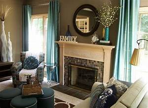 Teal and Taupe Living Room - Contemporary - Living Room