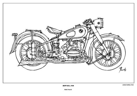 Motorcycle Sketch Bmw R51 1938 Original Ink Drawing By