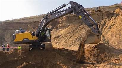 Excavator Volvo Wallpapers Digging Sand 4k Vehicles