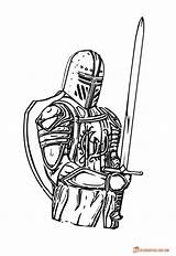 Knight Coloring Knights Medieval Pages Drawing Print Sword Template King Executioner Colouring Armor Soldier Sketch Axe Spirit Clip Clipart Colors sketch template