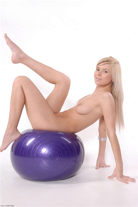 Blonde Plays On An Exercise Ball And Shows Her Naked Hot