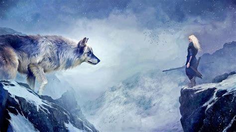 fantasy wolf fantasy woman warrior woman mountain white