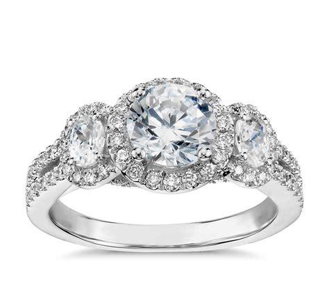 Monique Lhuillier Threestone Halo Pavé Diamond Engagement