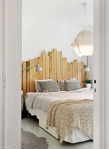deco chambre avec palette déco de chambre avec une tête de lit faite en palette bois