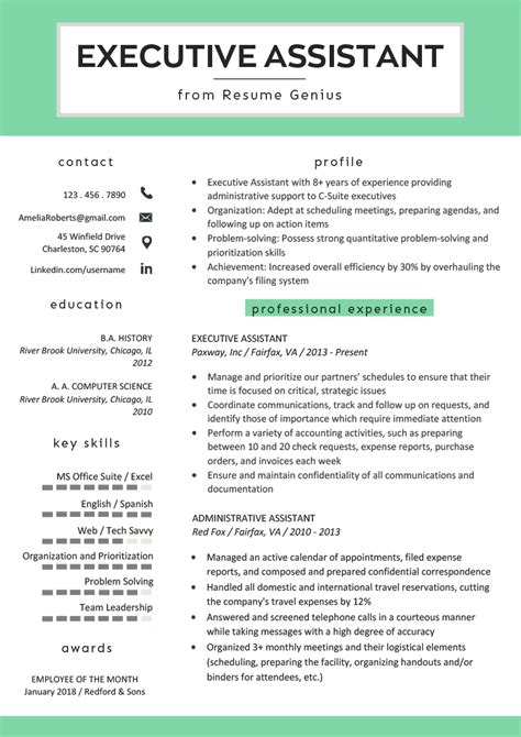 executive assistant resume  writing tips rg