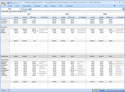 Monthly Budget Planner  Excel Budget Spreadsheet  Personal Budgeting Software