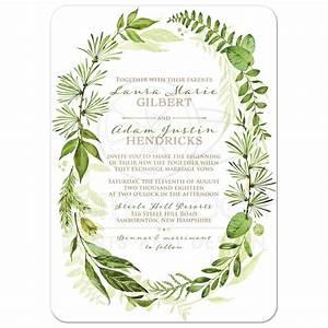 Greenery Foliage Wedding Invitation   Watercolor Leaves ...