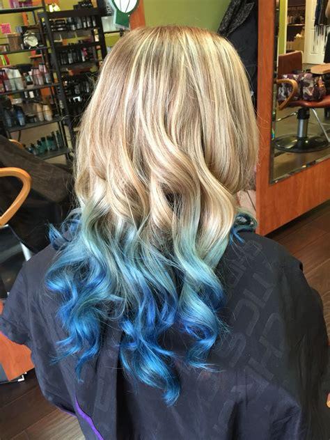 Beautiful Long Blond To Blue Ombre Hair Using Pravana